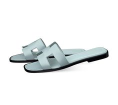 Oran Hermes ladies' sandal in patent leather Epsom calfskin, leather sole and sky blue lining