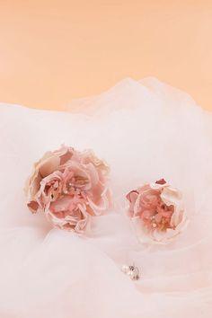 Peonies and swarovski crystal bridal by Shmilyaccessory on Etsy