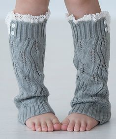 Another great find on #zulily! Light Gray Lil Lilly Leaf Leg Warmers by PeekABootSocks #zulilyfinds