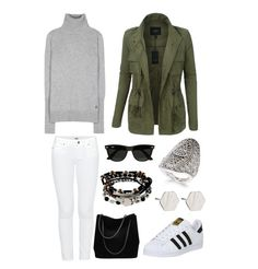Busy day ahead? This outfit is the perfect everyday look that works well anywhere you go. The comfy shoes and cozy turtleneck add comfort, while the white jeans and completor military jacket along with the jewelry, hip shades, and stunning bag upgrade the look to feel more sophisticated. From the grocery store to the soccer field to lunch with friends, this sleek outfit is the perfect go-anywhere look for your average jam-packed day…