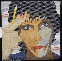 """Hmmm, 51 x 51"""",  by Pat Kumicich.  Photo by Quilt Inspiration: People and Portraits art quilt exhibit 2016"""