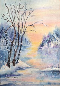 """Winter Daydream"" transparent watercolor by Bette Orr......      www.betteorr.com"
