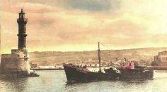 To πλοίο AFOVOS.  Το 1962 προσέκρουσε τη βάση του φάρου των Χανίων Crete Island, Simple Photo, Old Maps, Vintage Photos, The Past, Antique Maps, Vintage Photography, Old Cards