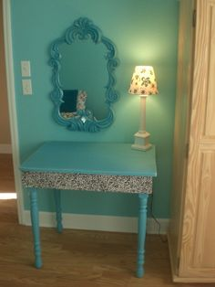 Vanity table made from salvaged wood! Refurbished mirror to match!