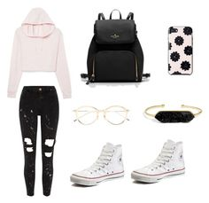 """""""School day"""" by rebekahdrhodes03 ❤ liked on Polyvore featuring River Island, Kate Spade, Thom Browne, BaubleBar and Converse"""