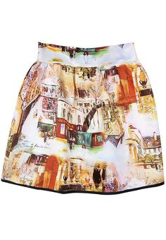 White Houses Painting Print Flare Skirt US$43.61