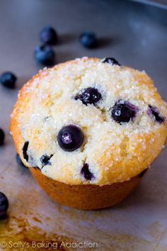 Bakery-Style Blueberry Muffins--these were really quite good. Trick is using buttermilk and filling the cups all the way to the top! You could really use any type of filling with the dough recipe
