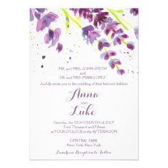 Watercolor lavenders wedding invitation | plum, blue, lavender