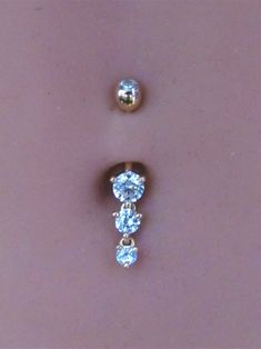 14k Solid Rose Gold Triple Round Cz's Navel Belly button | Etsy