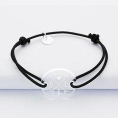 1b9adab7733 Bracelet homme cordon simple personnalisé initiales médaille gravée  acrylique ronde 2 trous 21 mm