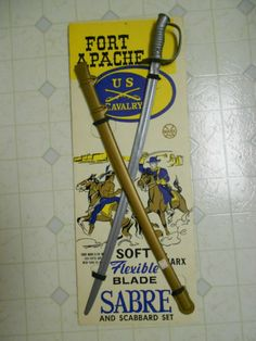 Marx-Fort-Apache-US-Cavalry-Sabre-Sword-Scabbard-Mint-On-Card-MOC-Old-Stock