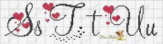ENCANTOS EM PONTO CRUZ: Monograma em Ponto Cruz de Coração Cross Stitch Letters, Cross Stitch Borders, Cross Stitch Baby, Cross Stitch Designs, Cross Stitching, Cross Stitch Embroidery, Stitch Patterns, Embroidery Alphabet, Embroidery Fonts