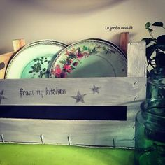 customisation de cagette. #cagette #recup #recyclage #recycling #homemade #diy #diydecor #vintage #instadeco