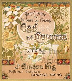 Antique Vtg French Paris Lithograph Art Nouveau Perfume Label by JN Giraud Fils | eBay