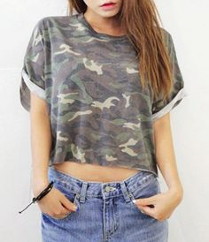 $7.22 Casual Scoop Neck Short Sleeve Camo Boxy T-Shirt For Women