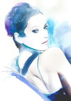 Origineel schilderij, originele aquarel, Aquarel Portret van Marion Cotillard, Jalouse Magazine cover art, portret schilderij,