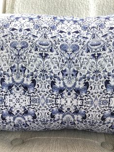 William Morris Lumbar // Chinoiserie Pillow // Decorative Pillow // Navy White Pillow Pillow Inserts, Pillow Covers, White Pillows, William Morris, Satin Fabric, Lumbar Pillow, Chinoiserie, Navy And White, Decorative Pillows