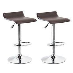Set of 2 Dark Brown Swivel Modern Bombo Chair Pub Bar Stool Barstools Chrome Lot