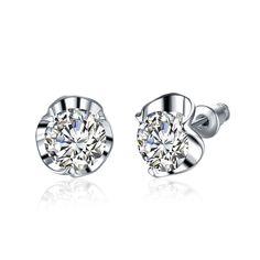 Environmental Platinum Jewellery Heart Stud Earrings