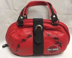 Womens Harley Davidson Motorcycle Red & Black Small Hand Bag Purse EUC Baguette #HarleyDavidson #Baguette