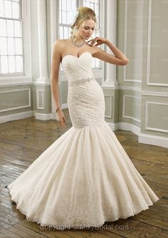 Mermaid Sweetheart Embroidery Lace Sweep Train Wedding Dress at Millybridal.com