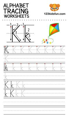 Alphabet Tracing Worksheets A-Z free Printable for Preschooler and Kindergartener. This Alphabet Tracing is a great activity for kids to practice letter recognition and handwriting skills. Printable letter K tracing worksheet. Free Printable Alphabet Worksheets, Alphabet Tracing Worksheets, Tracing Letters, Letter H Activities For Preschool, Preschool Writing, Alphabet For Kids, Learning Letters, Italian Language, Korean Language