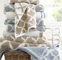 pottery barn towels - gray hand towels would be perfect for half bath