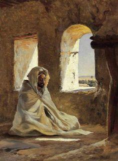Prayer Time by Eugene Alexis Girardet - Art Arabe, Middle Eastern Art, Arabian Art, Islamic Paintings, Historical Art, Traditional Paintings, Art Plastique, Islamic Art, Beautiful Paintings