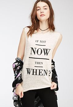 White Beige If Not Now Graphic Muscle Tee Tank Top | FOREVER21 - 2000080494 $15