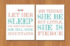 Let Her Sleep For When She Wakes And Though She Be But Little She is Fierce Hearts Nursery Wall Art Coral Pink Teal Set of Two (29) on Etsy, $25.00
