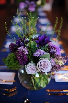 Purple and green low centerpiece