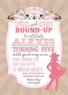 Vintage Modern Cowgirl Invitation By Fetestudio On Etsy 1100