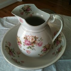Floral water pitcher basin,made in England.