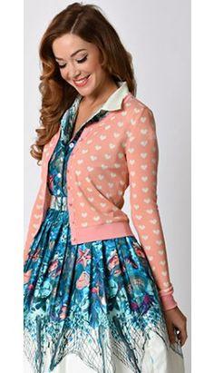 Retro Style Pink & White Hearts Long Sleeve Sudden Sky Knit Cardigan