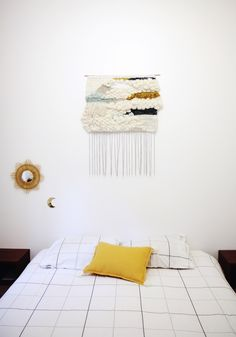 Tissage mural, tete de lit, weaving by julie robert