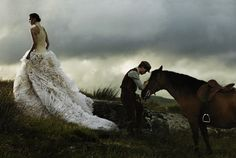 "Photographer David Sims, Stylist Grace Coddington, Model Arizona Muse in Alexander McQueen with Jeremy Irving of ""War Horse"""