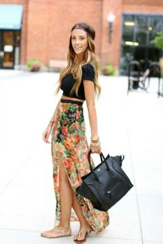 Ombre Hair + Floral Maxi + Black Crop Top. Darling Combo.