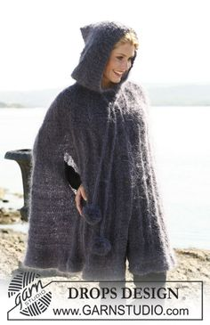 """DROPS cape with hood in """"Vienna"""". ~ DROPS Design - free (could make this in red for Little Red Riding hood, or black, or purple for a witch, or maybe even green for a monster or goblin, and white for a ghost or ghoul)"""