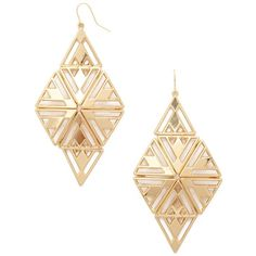 Cutout Triangle Drop Earrings - Jewellery - Earrings - 1000168247 -... (10 CAD) ❤ liked on Polyvore featuring jewelry, earrings, accessories, forever 21 jewelry, triangular earrings, forever 21 earrings, triangle earrings and earrings jewelry
