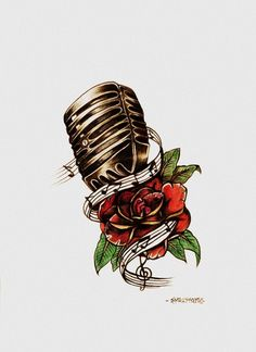 Rose and Microphone Tattoo Design by Eholm3s