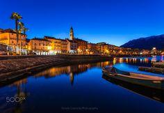 Ascona blue hour by AlfredoCostanzo. Canton Ticino, Blue Hour, Maid, Switzerland, Skyscraper, Nyc, City Buildings, Mansions, Urban Design
