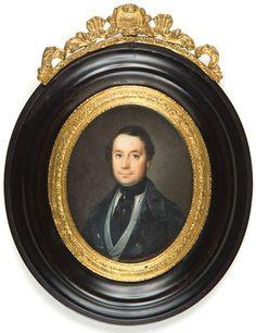 Círculo de Florentino Decraene Retrato masculino. Hacia 1845 Acuarela y guache sobre marfil. 82x68 mm