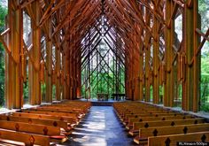 Garvan Woodland Gardens Chapel near Hot Springs Arkansas. Pine beams and floor to ceiling glass. Spectacular.
