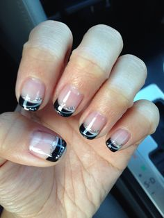 Black tips with silver/white lines