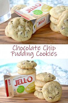 Once you try these Chocolate Chip Pudding Cookies, you& insist on making c. - YUM - Once you try these Chocolate Chip Pudding Cookies, you& insist on making cookies with puddin - Cake Mix Cookies, Yummy Cookies, Cookies Et Biscuits, Santa Cookies, Christmas Cookies, Gingerbread Cookies, Cake Mix Muffins, Christmas Chocolate Chip Cookies, Jello Cookies