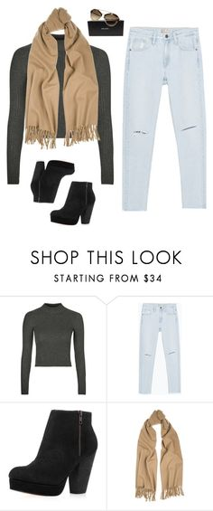 """""""booties, camel scarf, prada shades"""" by kennedydrm9 ❤ liked on Polyvore featuring Topshop, Zara, Acne Studios, Prada, women's clothing, women's fashion, women, female, woman and misses"""