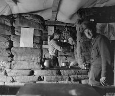 © IWM (Q 31845) The interior of a shell proof canteen on the Birdcage Line…