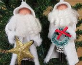 Santa Claus Christmas Ornament, Father Frost, White Santa