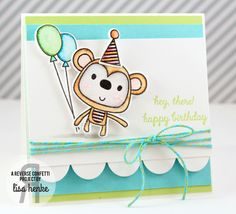 Card by Lisa Henke. Reverse Confetti stamp set: Monkey Business. Confetti Cuts: Monkey Business and Double Edge Scallop Border. Birthday card.