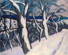 Winterlandschaft am Rhein, 1922 Museum, Painting, Art, Switzerland, Winter Landscape, Canvas, Painting Art, Kunst, Art Background